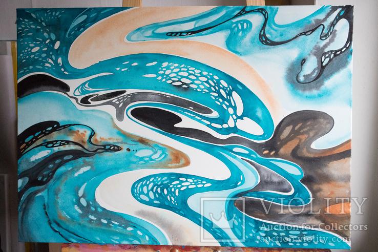 Акварельна абстракція в Бірюзово-Чорних кольорах покрита лаком. (70х50 см)., фото №4