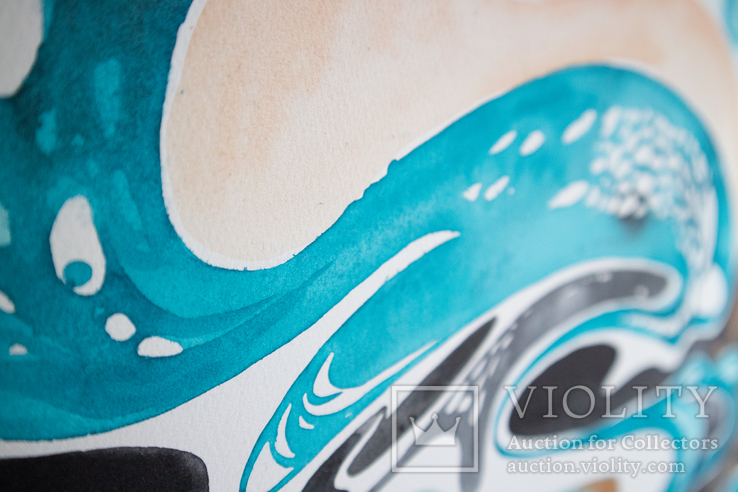 Акварельна абстракція в Бірюзово-Чорних кольорах покрита лаком. (70х50 см)., фото №9