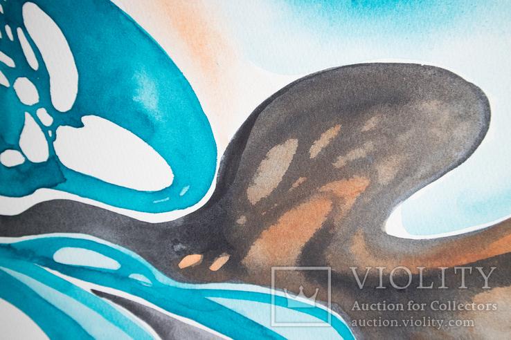 Акварельна абстракція в Бірюзово-Чорних кольорах покрита лаком. (70х50 см)., фото №11