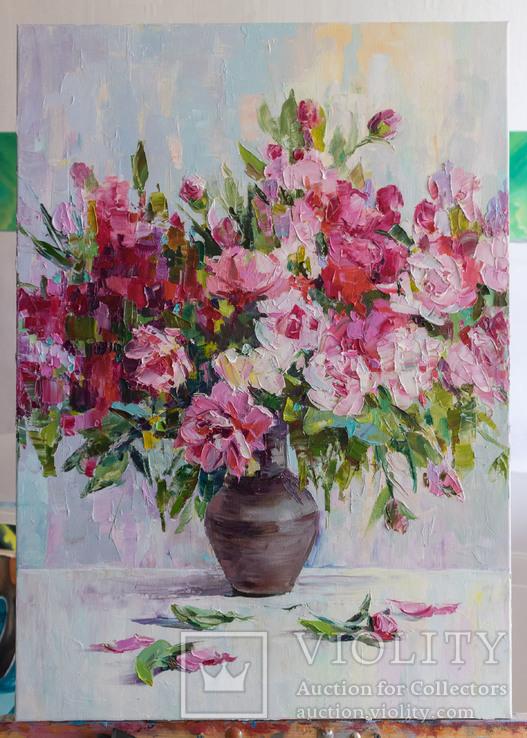 """""""Пионы"""", масляными красками, 70х50 см. Ю. Смаль, фото №3"""