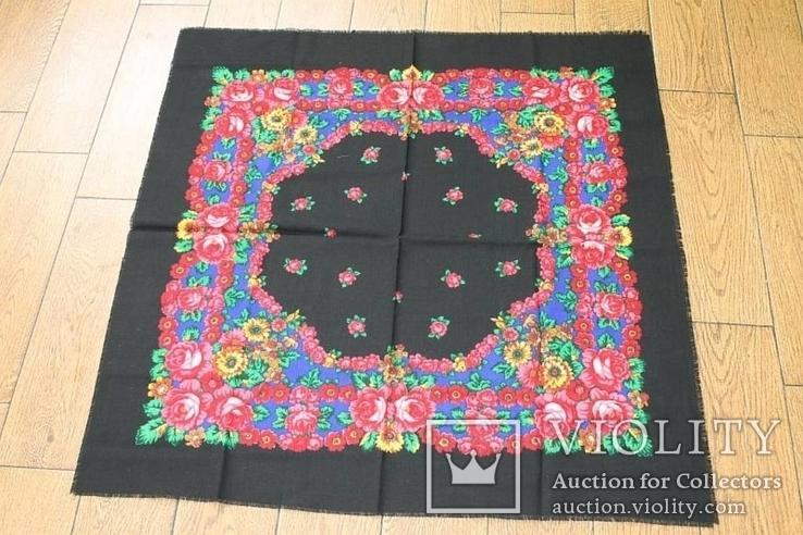 Шерстяной старинный платок №138, фото №3