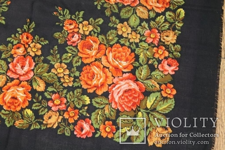 Шерстяной старинный платок №135, фото №5