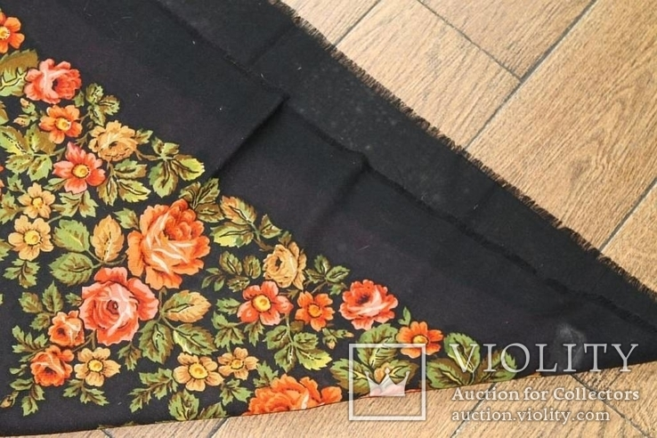 Шерстяной старинный платок №135, фото №11