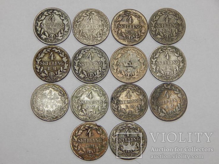 14 монет по 4 скиллинга, Дания