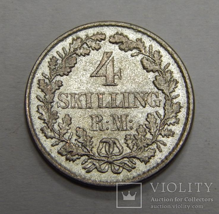 4 скиллинга, 1854 г Дания