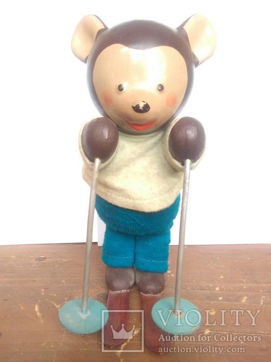 Заводной мишка-лыжник. Механическая игрушка Л.Разумовский