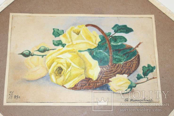 Квітковий натюрморт 29 року з підписом автора Т.Можаровская, фото №4