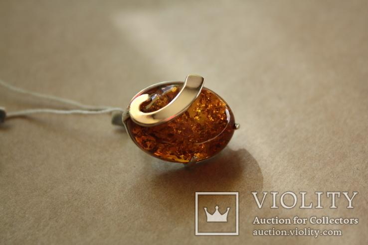 Серебряные серьги с янтарем и золотыми пластинами, фото №6