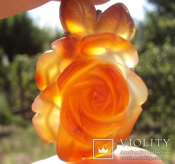 Брошь, роза из резного сердолика., фото №12