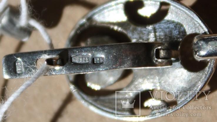 Серебряные серьги с янтарем и золотой проволокой, фото №3