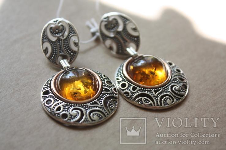 Серебряные серьги с янтарем и золотой проволокой, фото №2