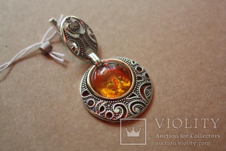 Серебряные серьги с янтарем и золотой проволокой, фото №6