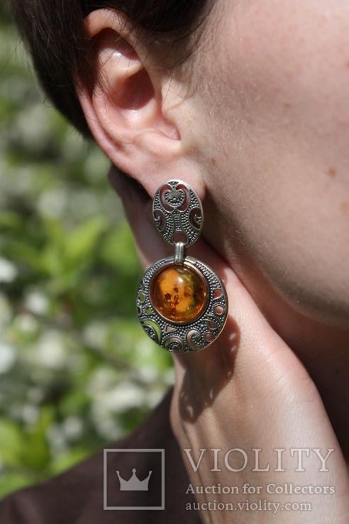 Серебряные серьги с янтарем и золотой проволокой, фото №8