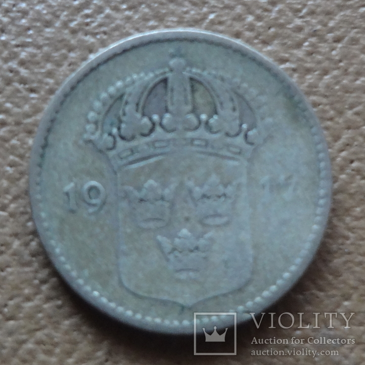 10 эре 1917  Швеция серебро    (П.6.25), фото №2