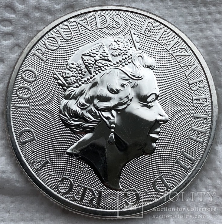 100 фунтов 2019 год Англия платина 31,1 грамм 999,5', фото №4