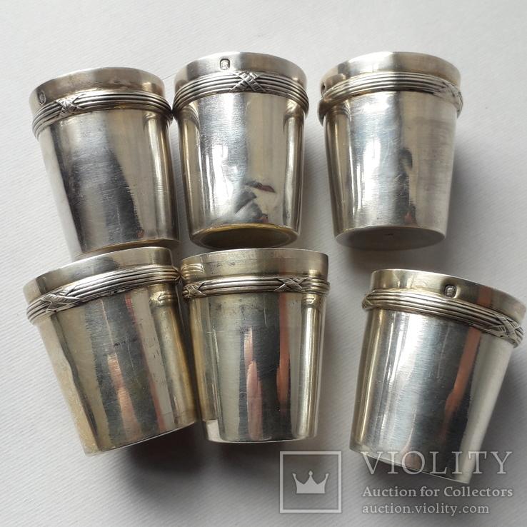 6 стопок на 40 мл, серебро, 124 грамма, Франция, фото №3