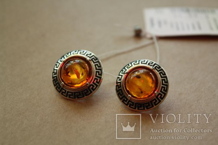 Серебряные серьги с янтарем, золотой проволокой и эмалью, фото №2