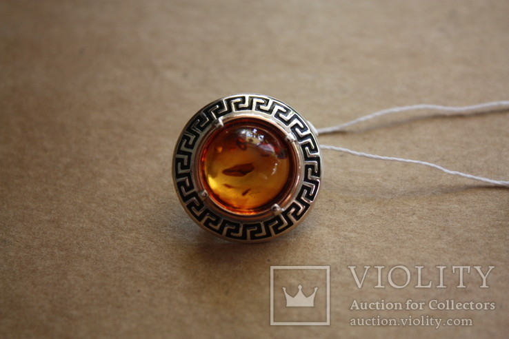 Серебряные серьги с янтарем, золотой проволокой и эмалью, фото №4