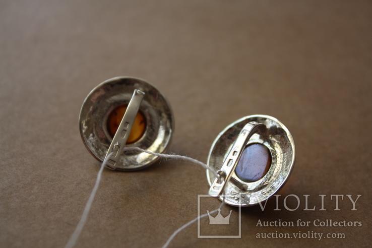 Серебряные серьги с янтарем, золотой проволокой и эмалью, фото №5