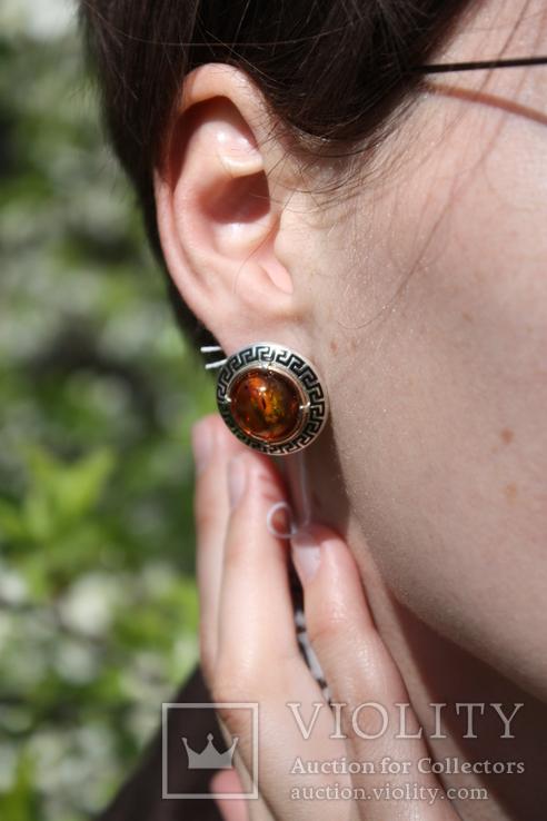 Серебряные серьги с янтарем, золотой проволокой и эмалью, фото №7