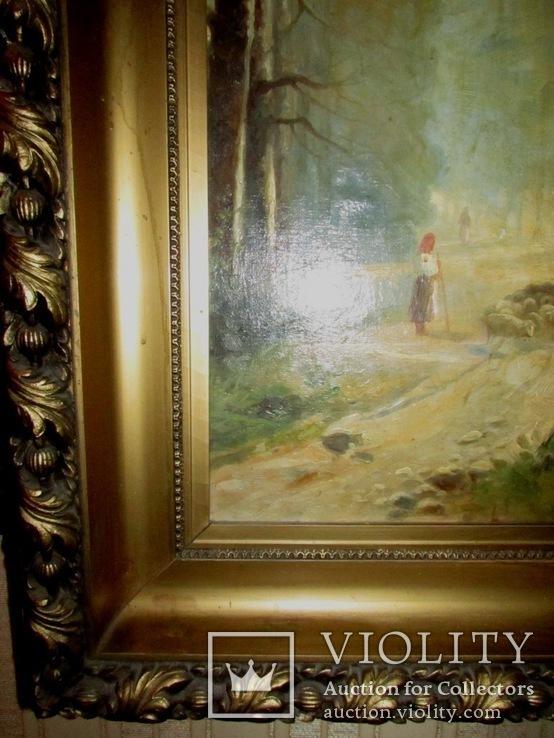 Антикварна картина Українська Джульєтта(пастораль) в розкішній рамі, фото №8
