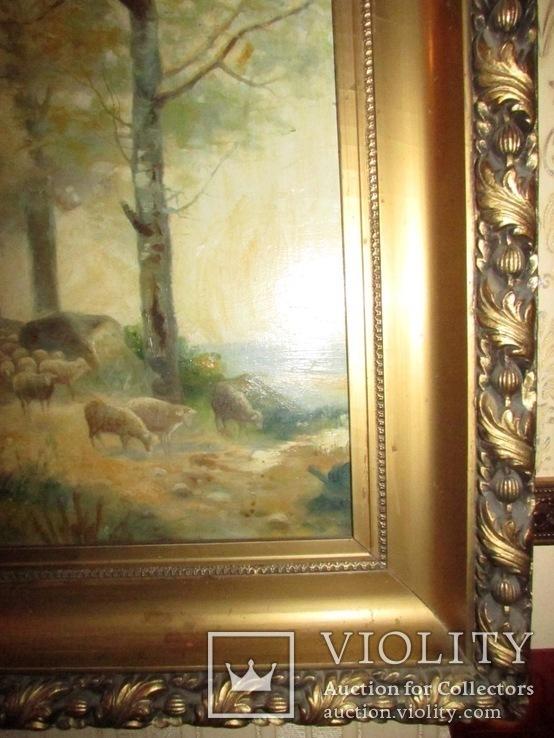Антикварна картина Українська Джульєтта(пастораль) в розкішній рамі, фото №9