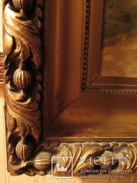 Антикварна картина Українська Джульєтта(пастораль) в розкішній рамі, фото №10