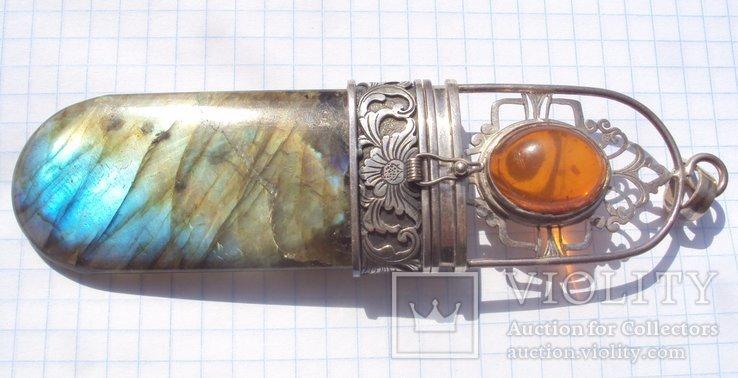 Таблетница серебро, лабрадорит., фото №3