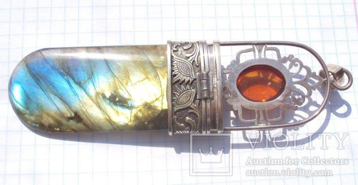 Таблетница серебро, лабрадорит., фото №4