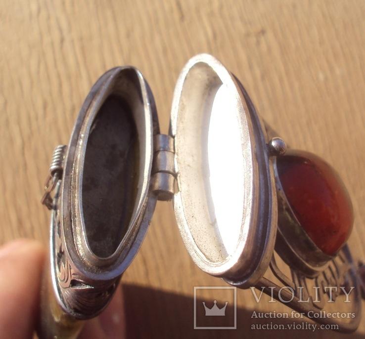 Таблетница серебро, лабрадорит., фото №10