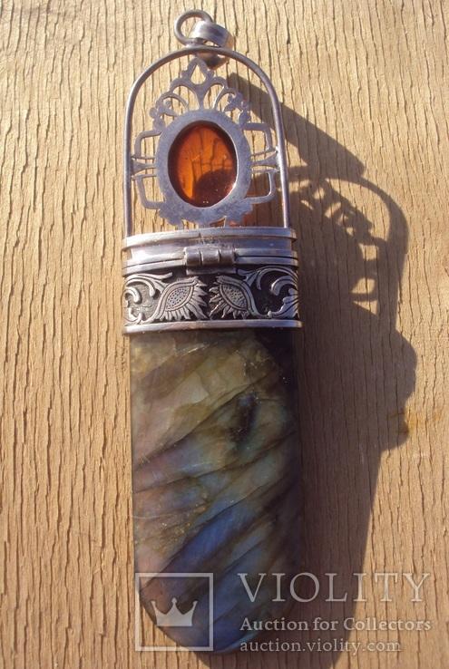 Таблетница серебро, лабрадорит., фото №12