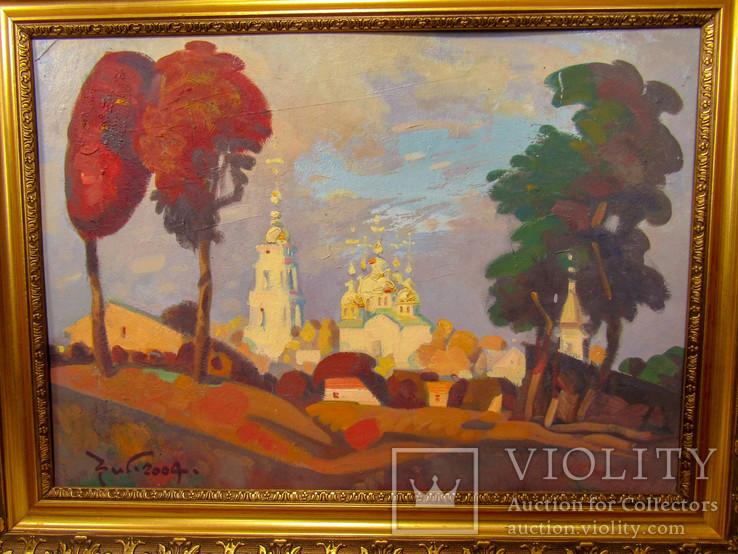"""Картина С. Григорьев """"Вид на монастырь вечером"""" 2004, фото №3"""