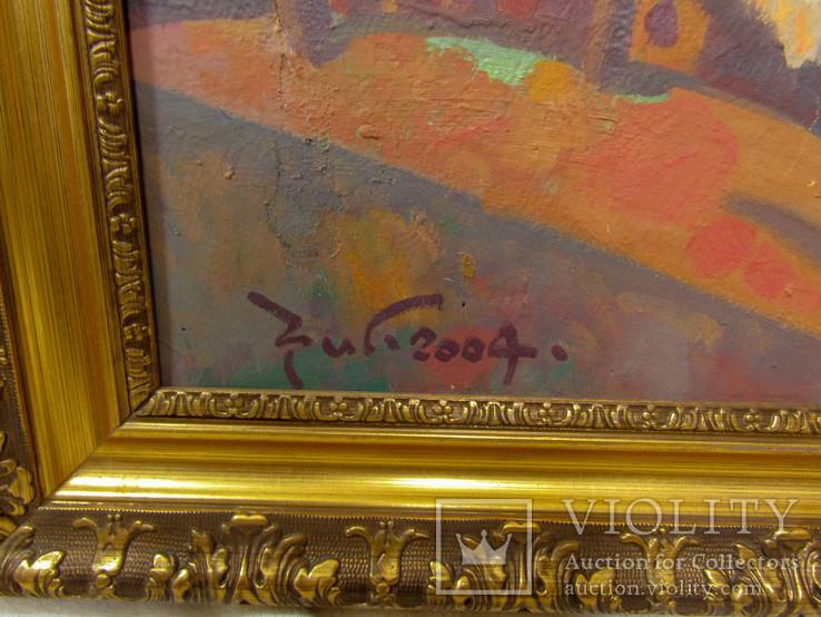 """Картина С. Григорьев """"Вид на монастырь вечером"""" 2004, фото №6"""