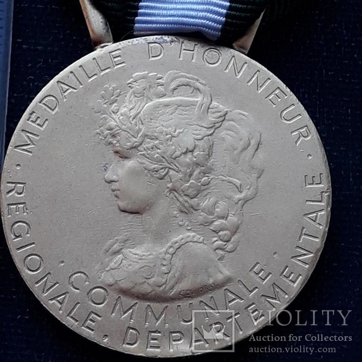 Региональная, Ведомственная, Коммунальная Почётная медаль, Франция, серебро, 20+ грамм, фото №3