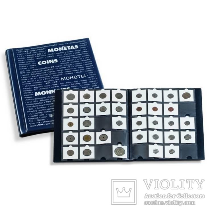 Альбом синего цвета для размещения 200 монет в холдерах