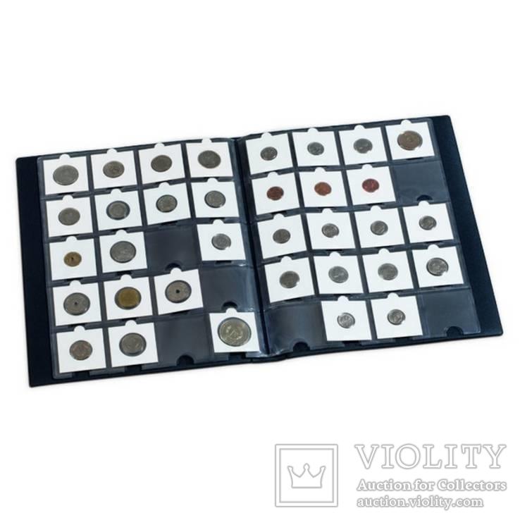 Альбом синего цвета для размещения 200 монет в холдерах, фото №3