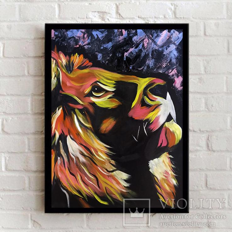 Цветной лев (масло/оргалит) 50х40 см