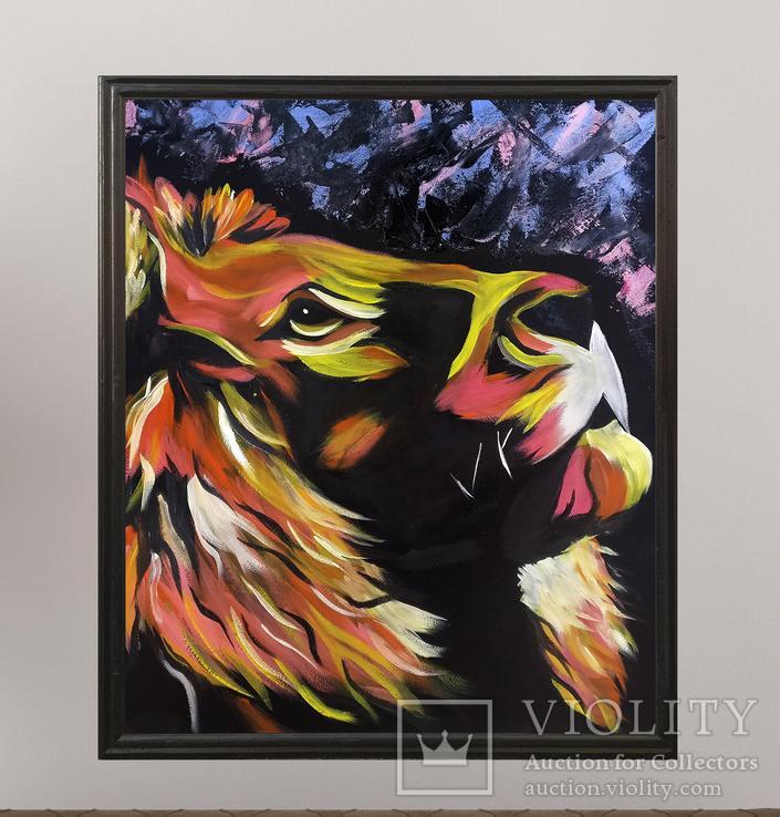 Цветной лев (масло/оргалит) 50х40 см, фото №5