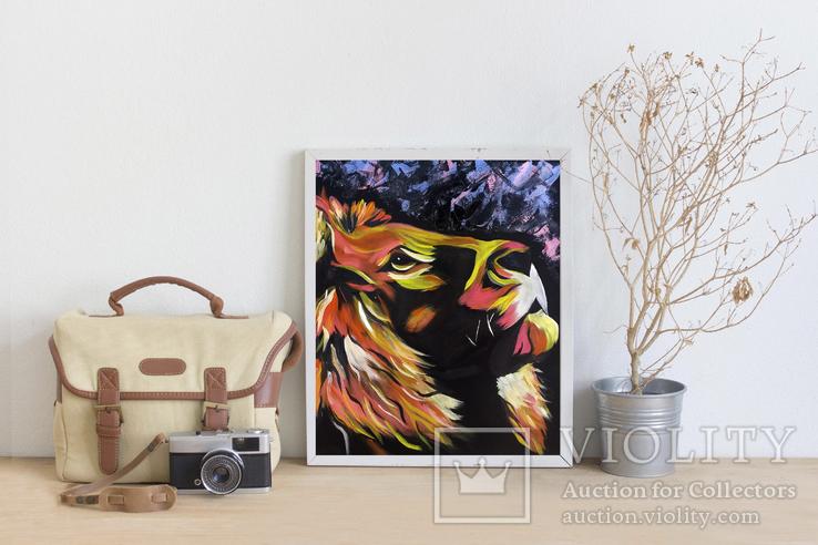 Цветной лев (масло/оргалит) 50х40 см, фото №6