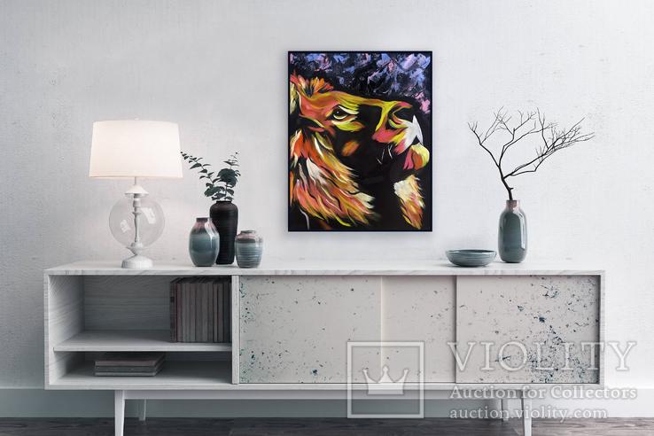 Цветной лев (масло/оргалит) 50х40 см, фото №7