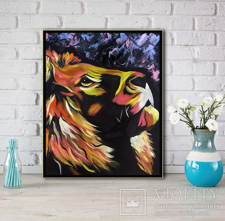 Цветной лев (масло/оргалит) 50х40 см, фото №8