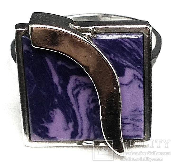 Кольцо, серьги, позолота, фиолетовый камень, фото №8