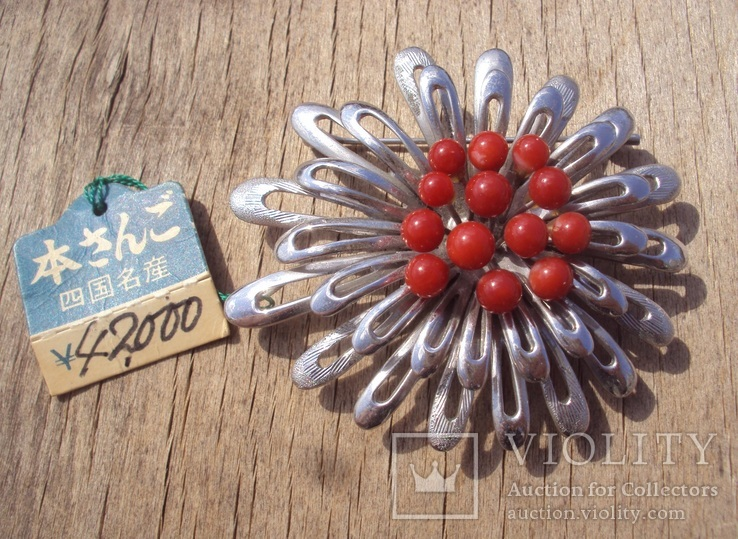 Брошь с красным кораллом., фото №2