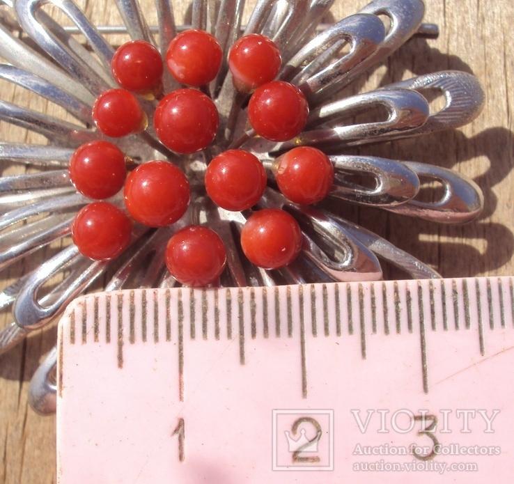 Брошь с красным кораллом., фото №4