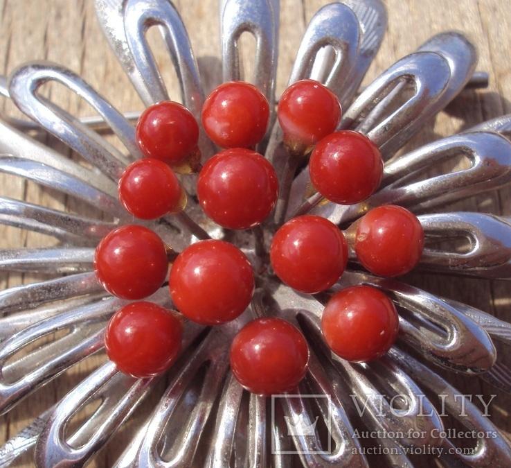 Брошь с красным кораллом., фото №6