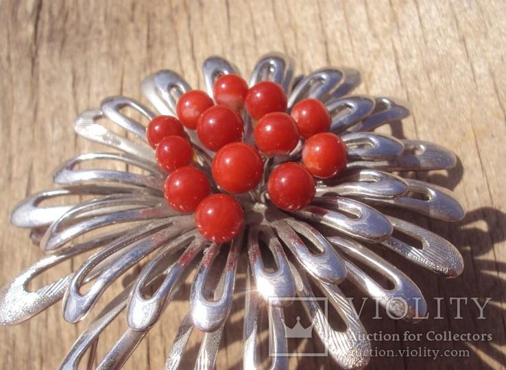 Брошь с красным кораллом., фото №7