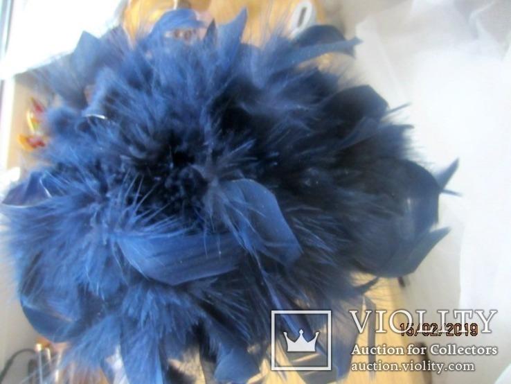 Дамская шляпка таблетка с перьями Англия ручная работа, фото №6