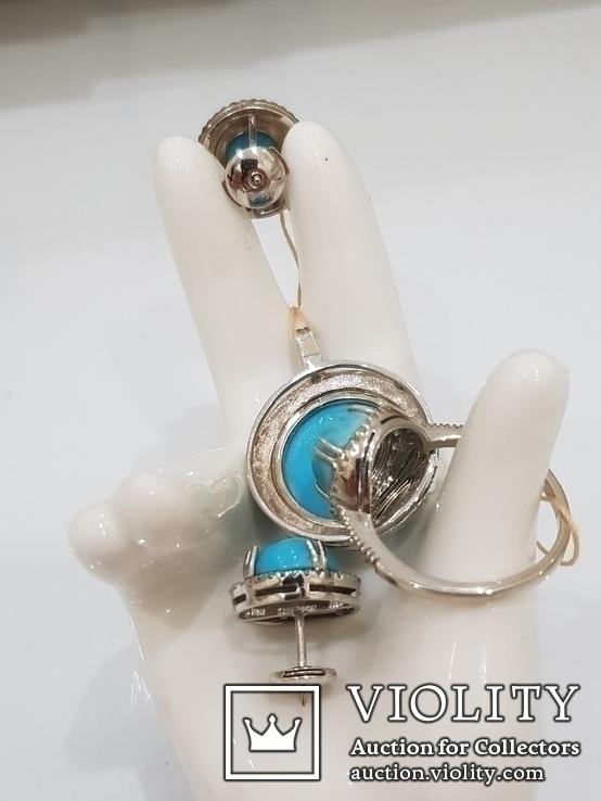 Парюра из белого золота с крупными кабошенами из иранской бирюзы и бриллиантами., фото №6