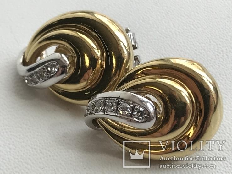 Золотые серьги с бриллиантами Италия, фото №4