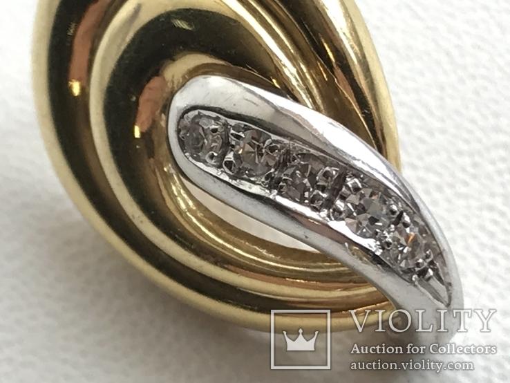 Золотые серьги с бриллиантами Италия, фото №5